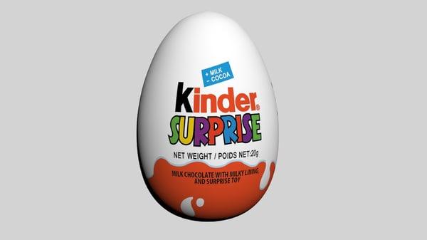 3d model kinder surprise egg