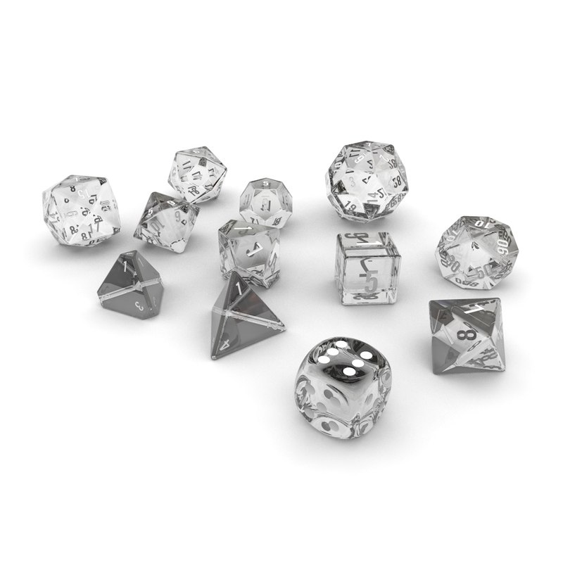 3d polyhedral dice set - model