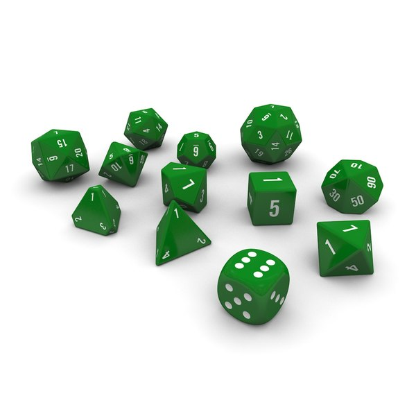 3d polyhedral dice set - model