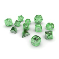 Polyhedral Dice Set - Green Glass
