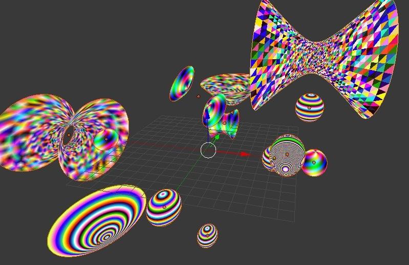3ds colored quadrics