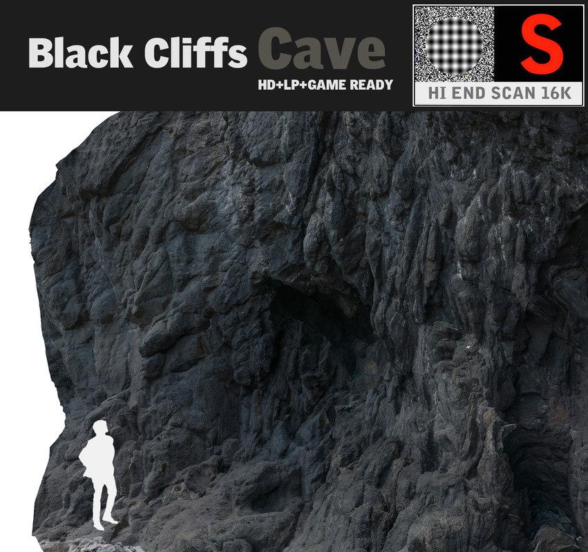 3d cave black cliffs 16k