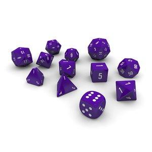 polyhedral dice set - 3d model