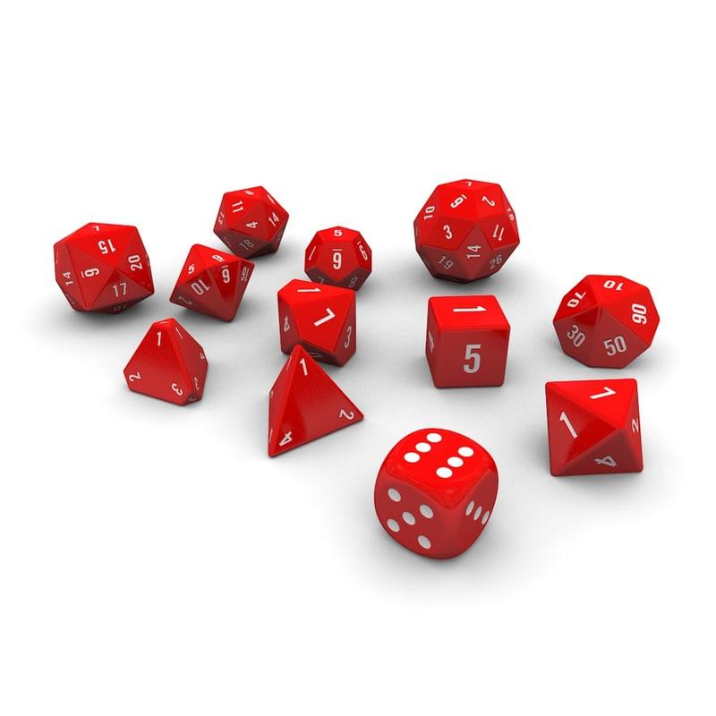 fbx polyhedral dice set -