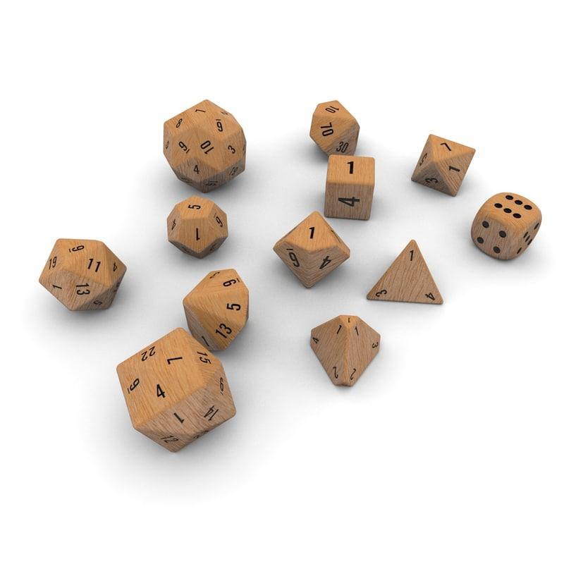 Polyhedral Dice Set Wood