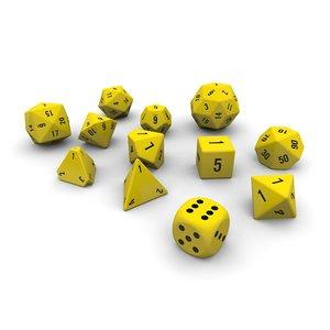 3d max polyhedral dice set -