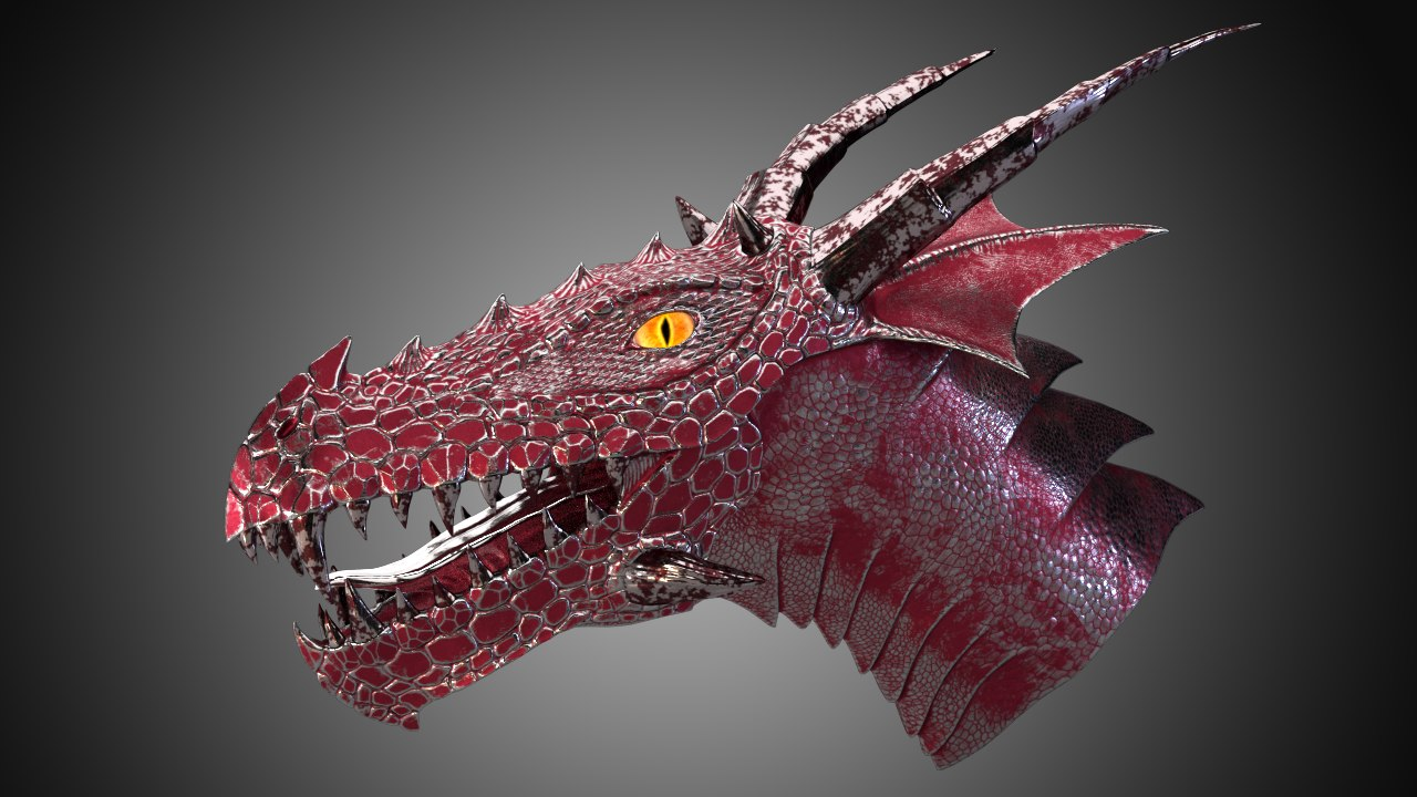 metal dragon head 3d max