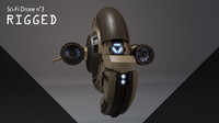 3d model of sci-fi drone n3 rigged