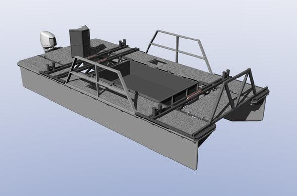 3d model work boat catamaran