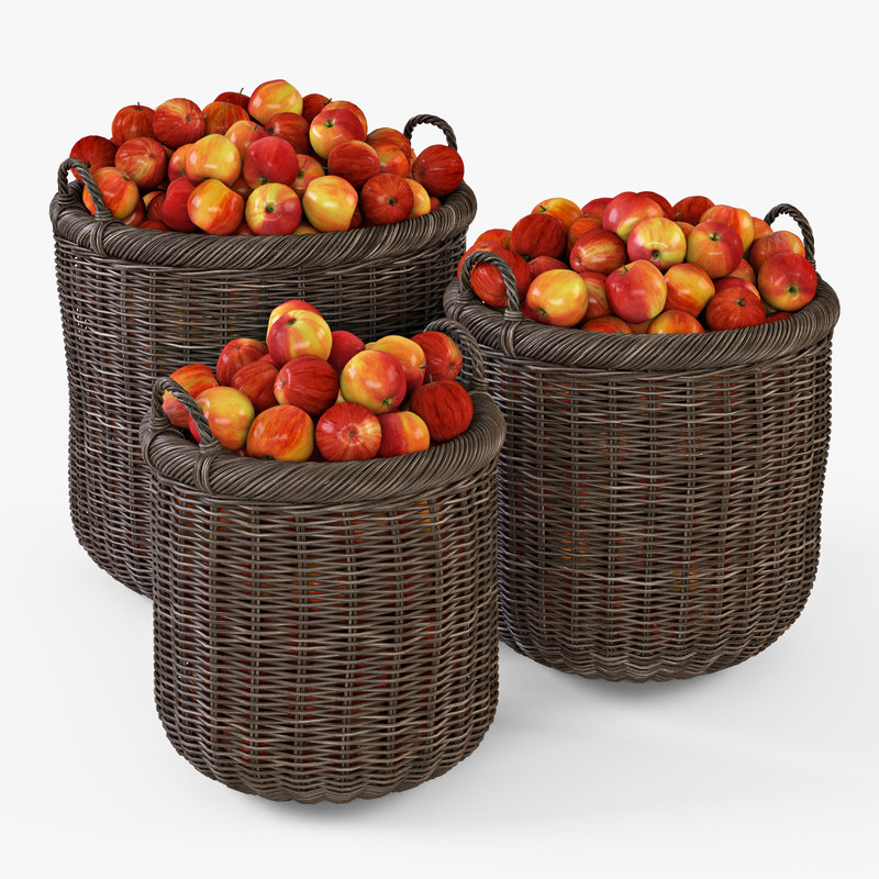 wicker basket apples brown 3d model