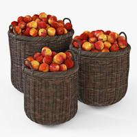 wicker basket apples brown 3d model