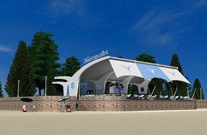 3d open beach restaurant model