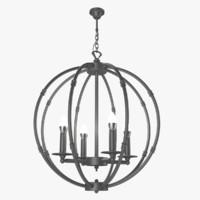 3d loft rings chandelier model