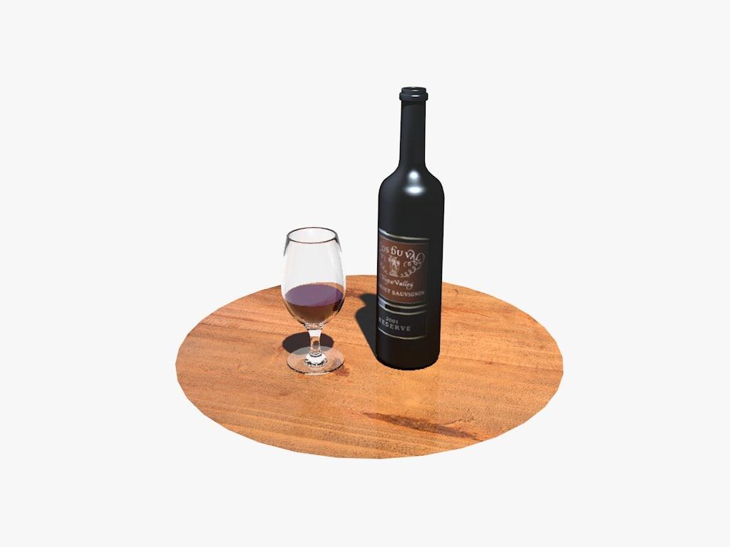 3d model wine bottle glass