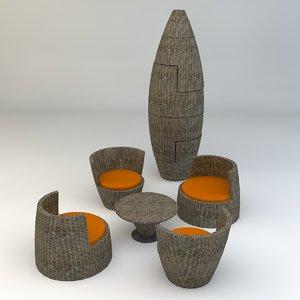 3d obelisk outdoor lounge model