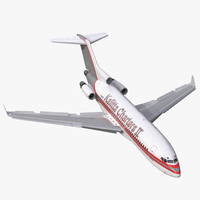 Boeing 727-100 Private Kalitta Air Rigged 3D Model