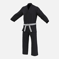 Karate Black Suit 3D Model