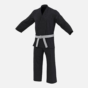 3d karate black suit