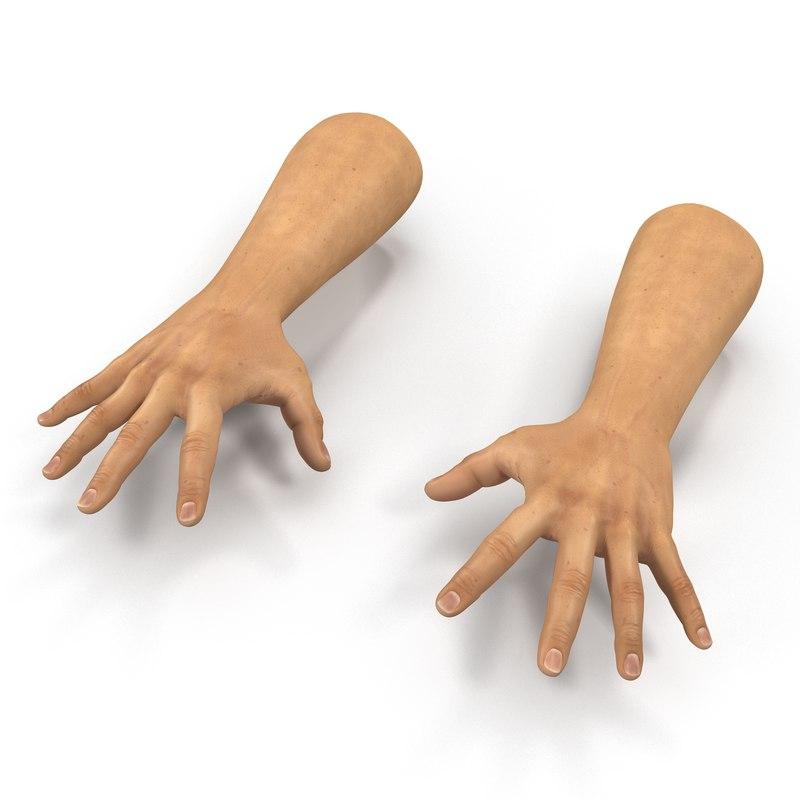 3d model man hands 2 pose