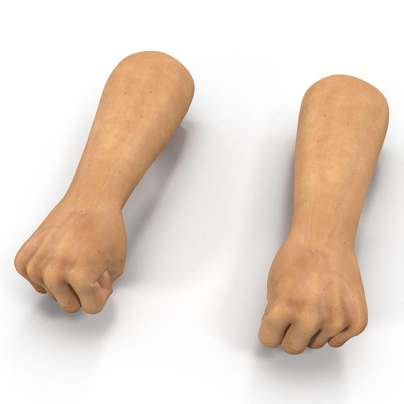 3d man hands 2 pose model