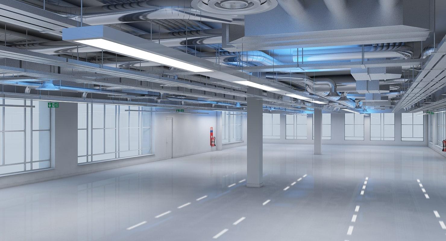 3d model of office building interior