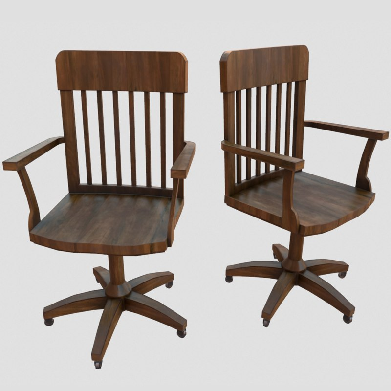 3d model wooden office chair