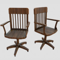 3d model wooden office chair