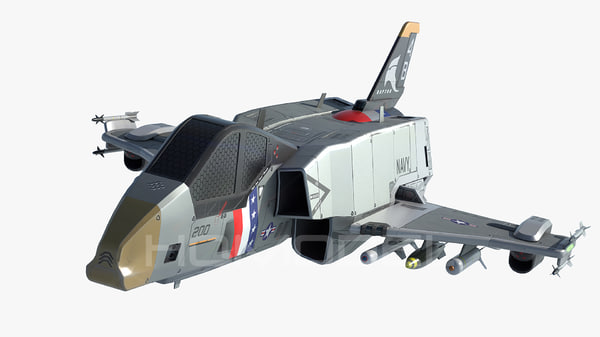 3d model starfighter usa pbr