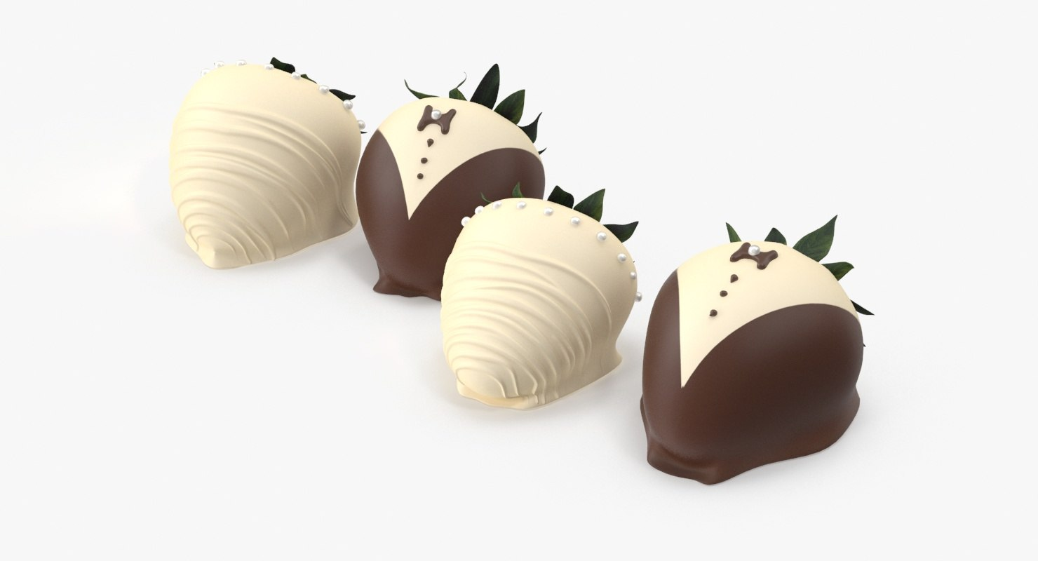 3d wedding chocolate strawberries model