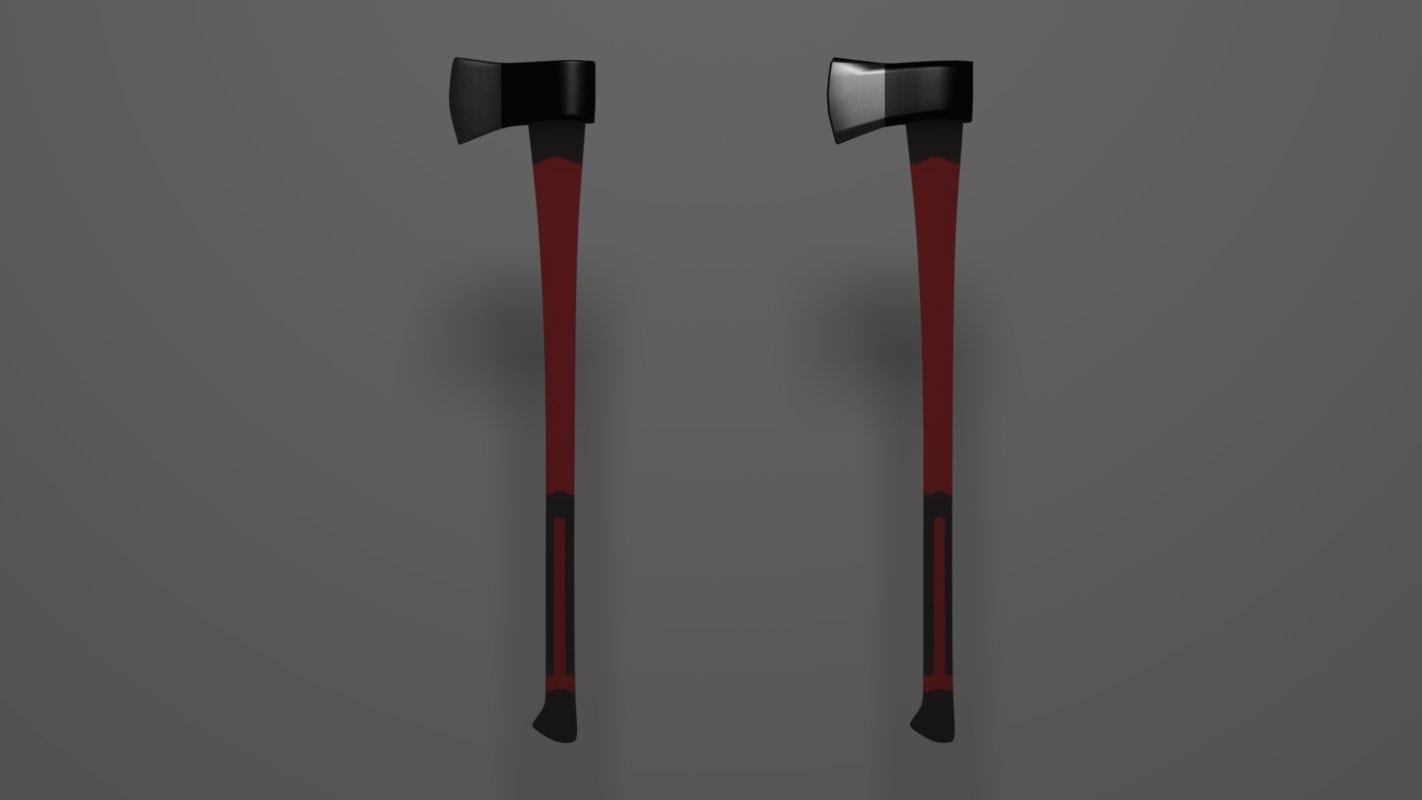 3d model of wood axe