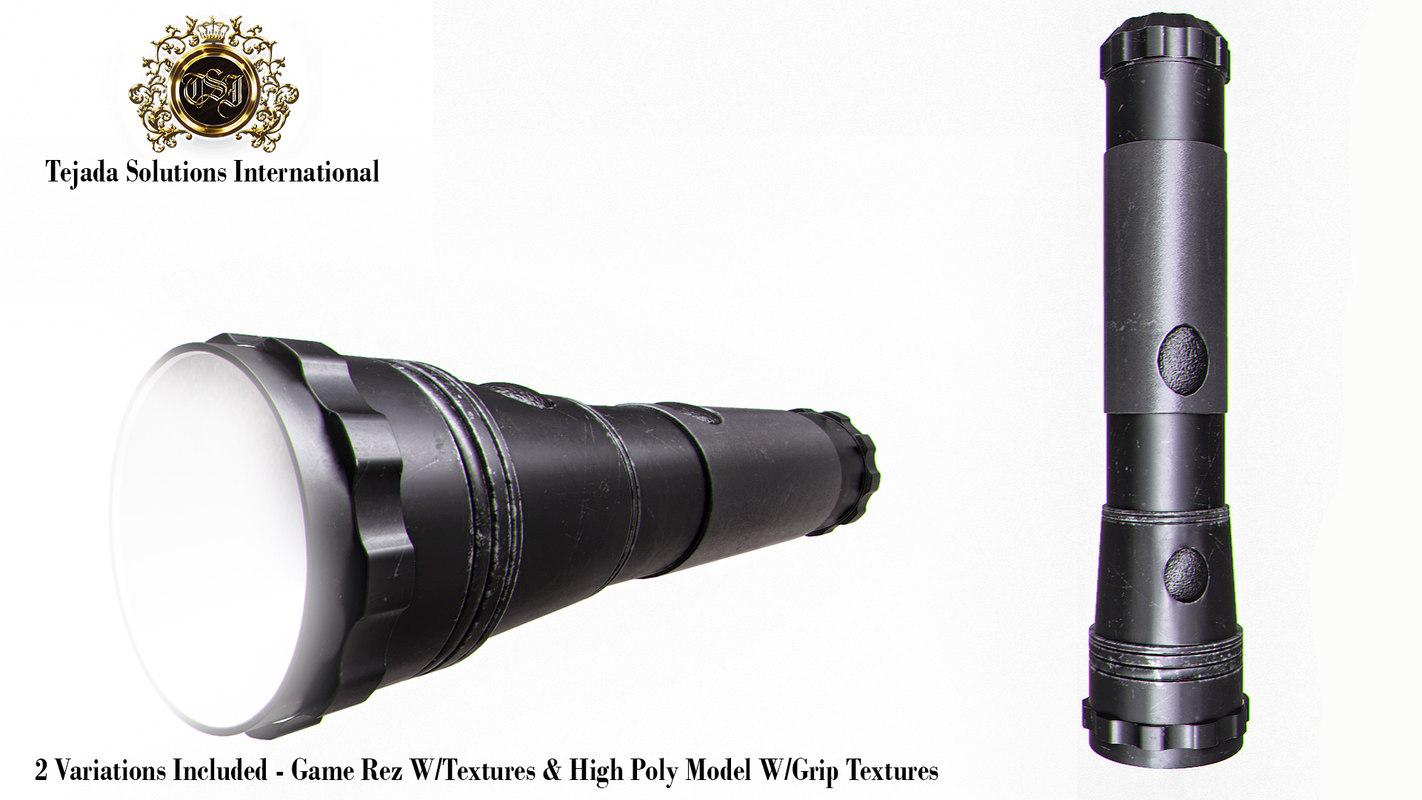 tactical flashlight 3d model