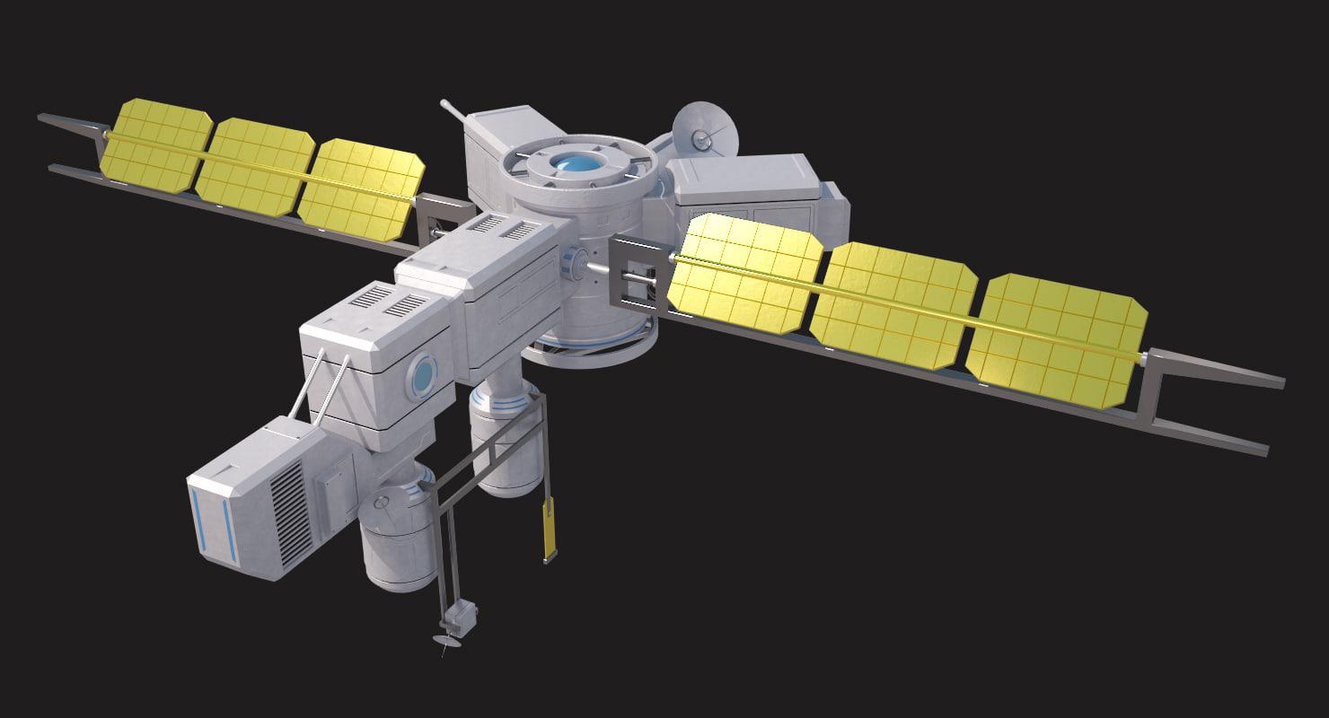 sci fi satellite 3d 3ds