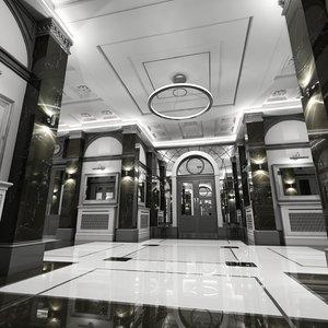 3d classic interior hallway 2