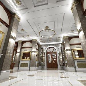 3d classic interior hallway model