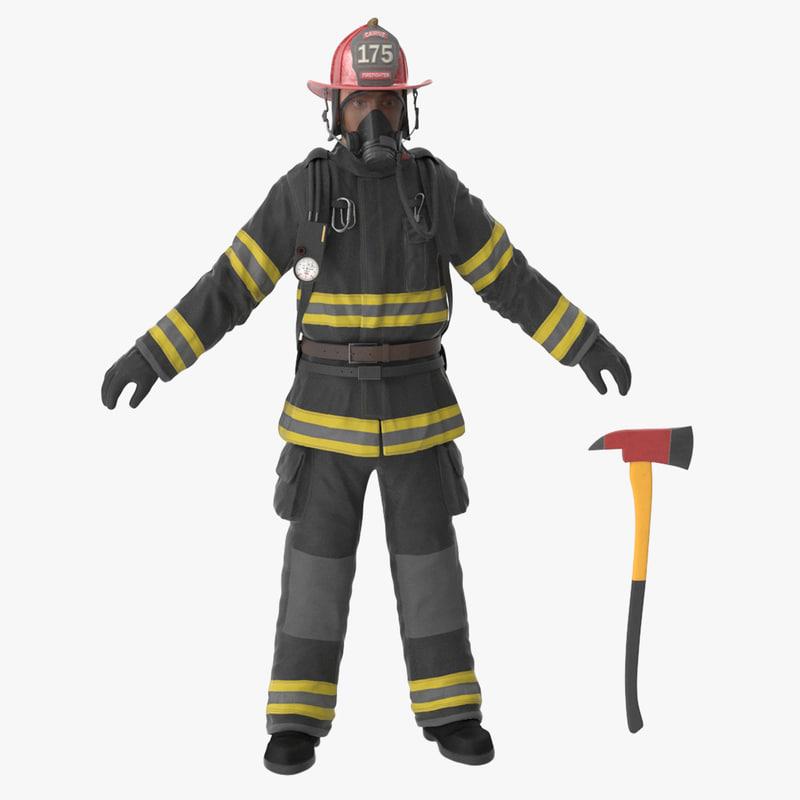3d firefighter black suite clean model