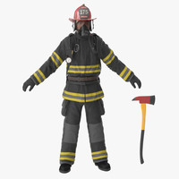 3d firefighter black suite clean model