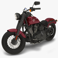 Harley Davidson Softail Slim 2016 Rigged Red 3D Model