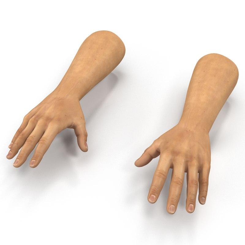 3d 3ds man hands 2