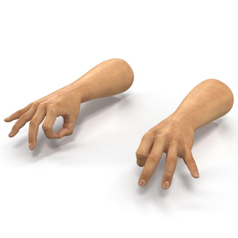 3d man hands 2 pose
