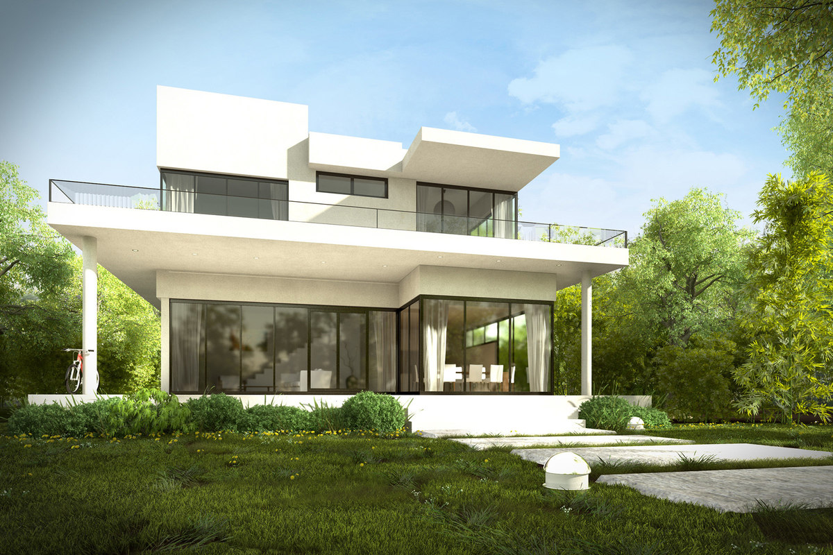 Modern house exterior with garden and interiors