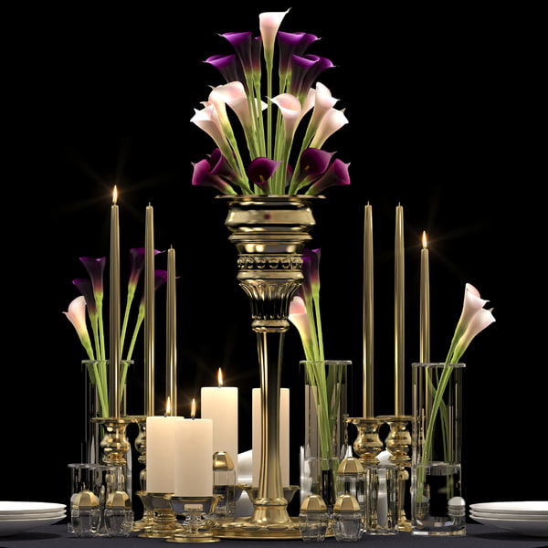 3d model decorative flower vase set