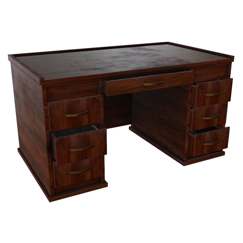 wood wooden desk obj