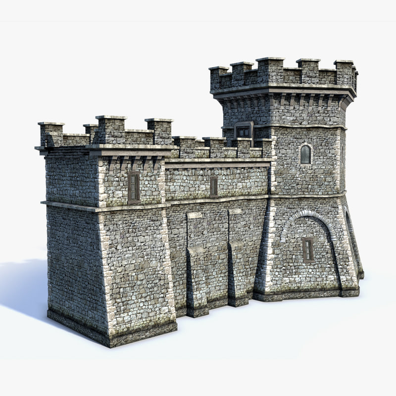 medieval fantasy town walls 3d model