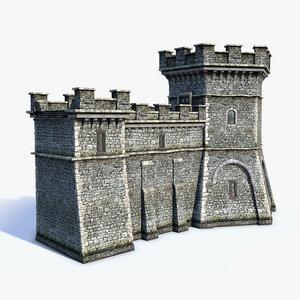 medieval fantasy town walls 3d model