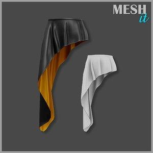 skirt black gold 3ds