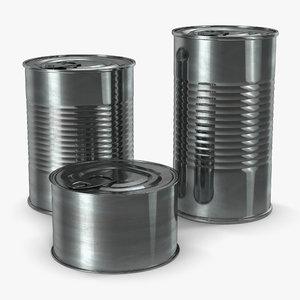 tin cans set 3d obj