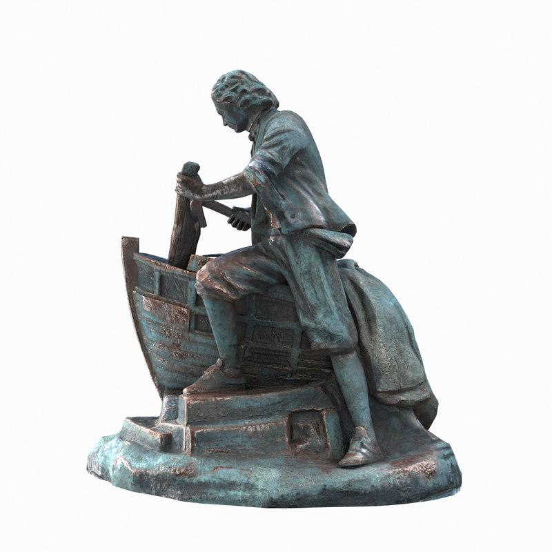 monument bronze low-poly fbx