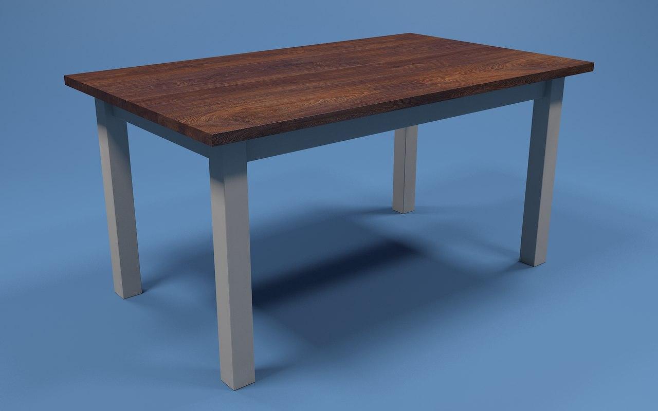 farmhouse dining table 3d model