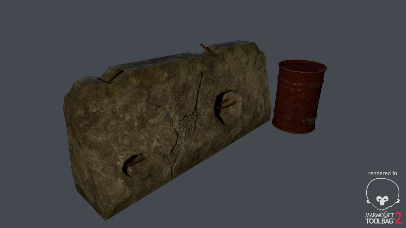 3d obj concrete roadblock barrel