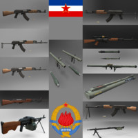yugoslavian weapon pack rifle 3d obj